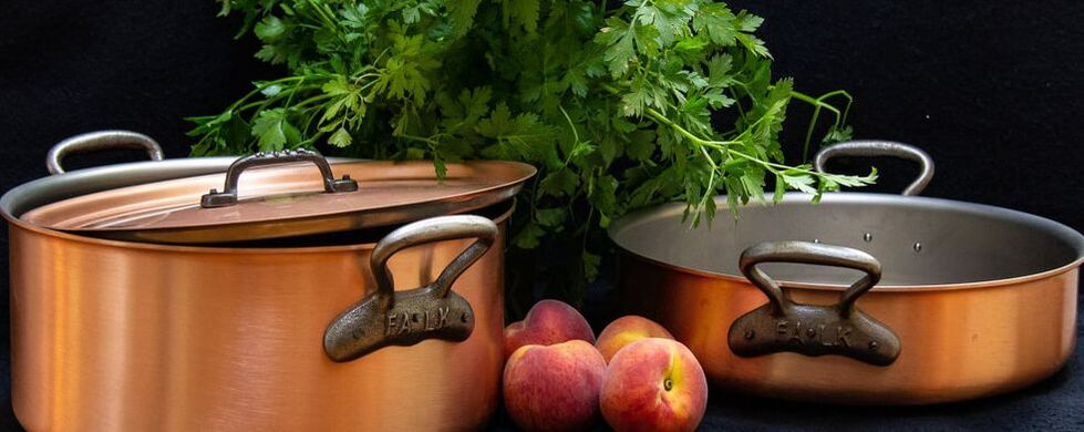 copper pots and pans by Falk
